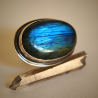 Oval Labradorite and Sterling Silver Ring