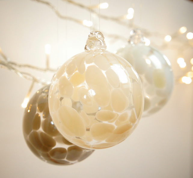 Ivory Colour Handmade Blown Glass Bauble