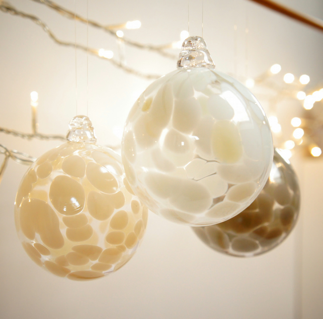 Winter White Handmade Blown Glass Bauble