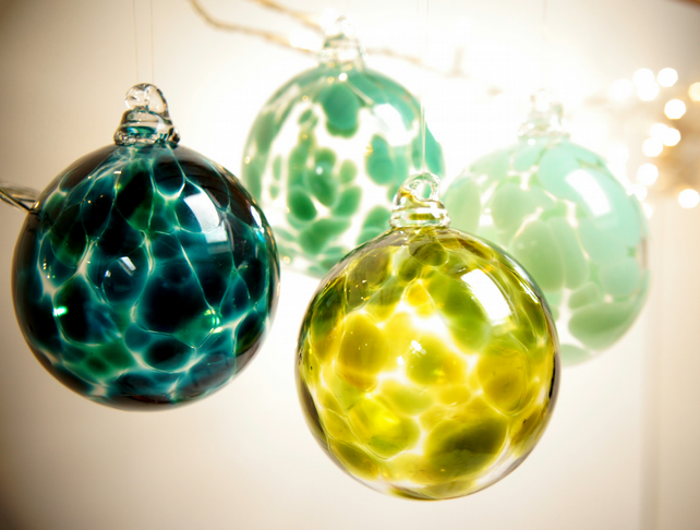 Sargasso Green Handmade Blown Glass Christmas Bauble