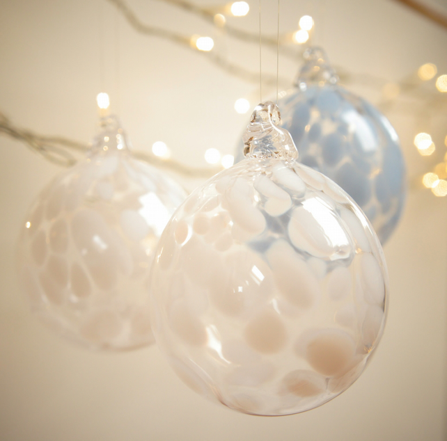 Mini Alabaster White Handmade Blown Glass Bauble