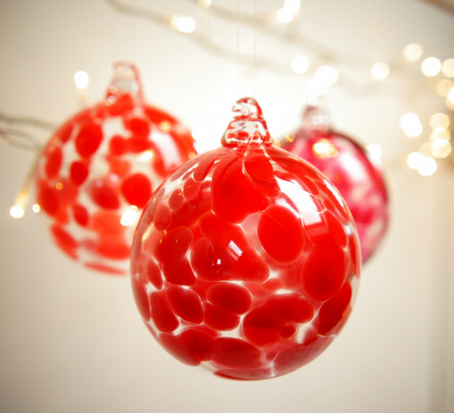 Crimson Red Handmade Blown Glass Bauble