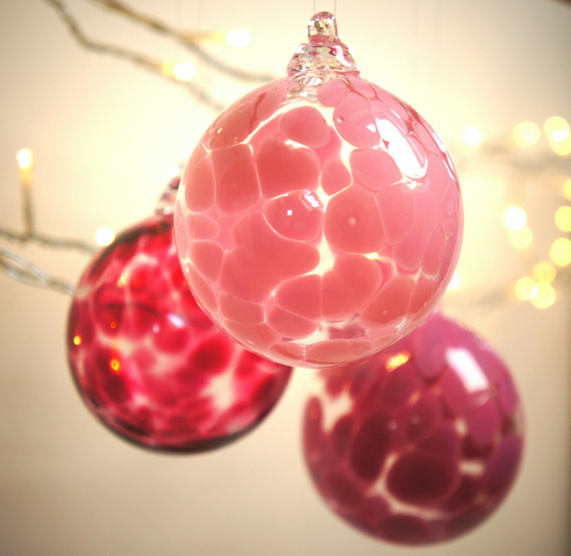 Pink Handmade Blown Glass Bauble