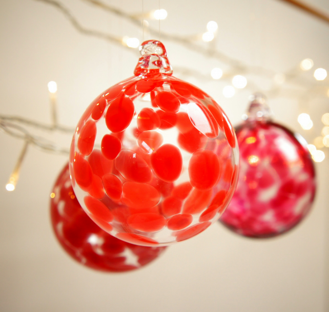 Vemillion Red Handmade Blown Glass Bauble