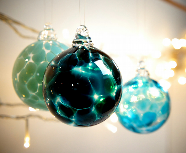 Mini Forest Green Handmade Blown Glass Christmas Bauble