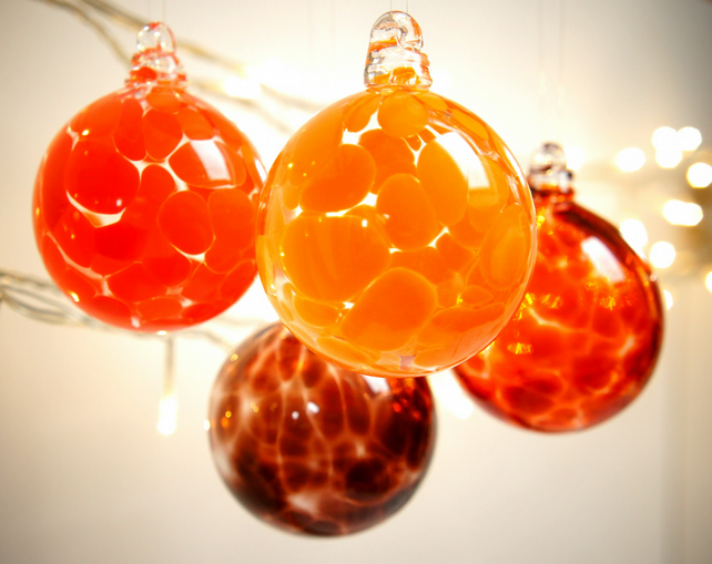 Mini Pumpkin Orange Handmade Blown Glass Bauble