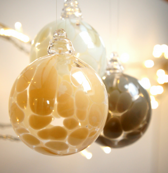 Mini Ivory Colour Handmade Blown Glass Bauble