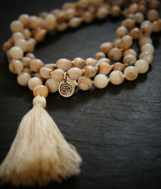 108 Crown Chakra Mala,Shell,Silver Charm and vaijayanti Seed Yoga Necklace