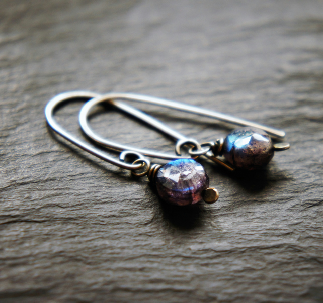 Dark Labradorite and Sterling Silver Dangle Earrings