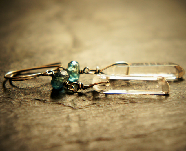 Kyanite, Quartz and Sterling Silver Dangle Earrings