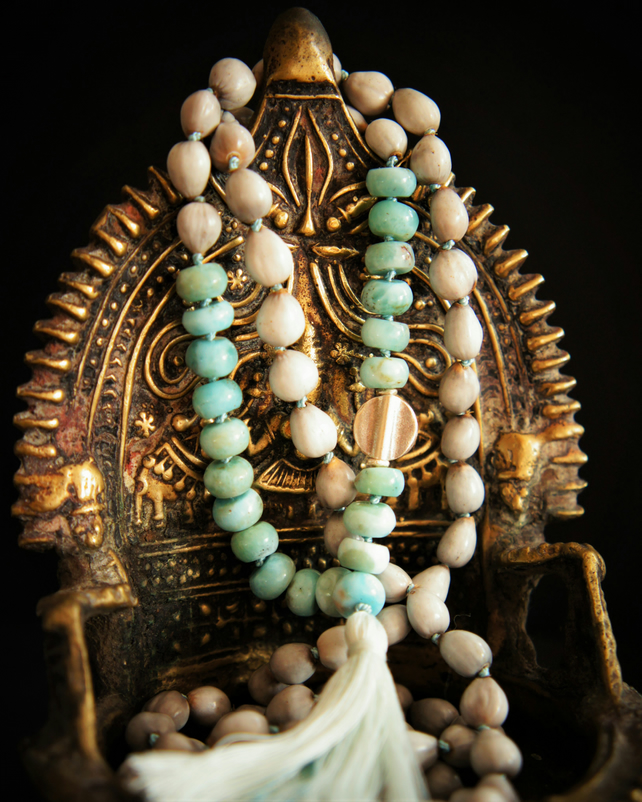 108 Throat Chakra Mala, Larimar ,Silver Charm and Vaijayanti Seed Yoga Necklace