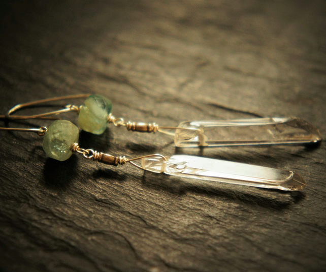 Sea Green Faceted Aquamarine, Quartz and Sterling Silver Dangle Earrings