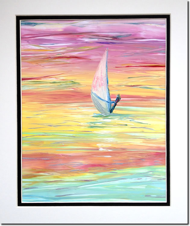 Windsurfer Sunset original encaustic art painting - supplied mounted