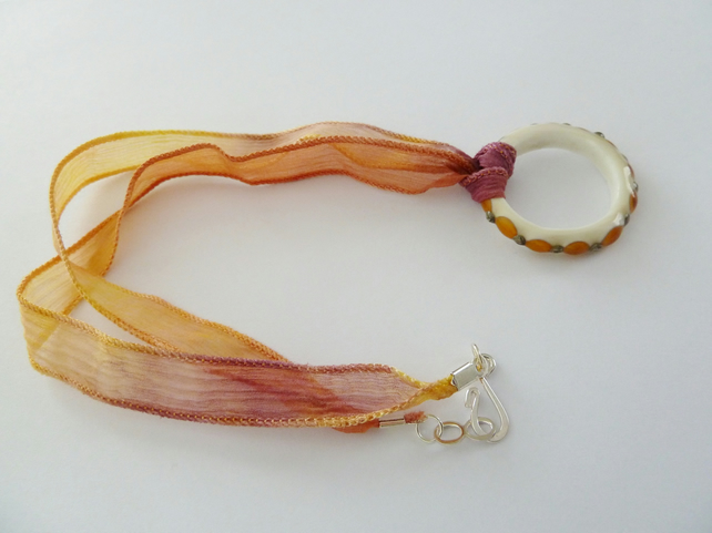 SALE lampwork ring sunset necklace