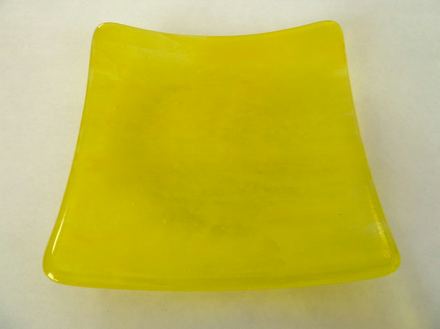 SALE yellow fused glass dish