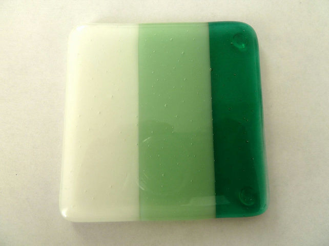 SALE green striped fused glass coaster