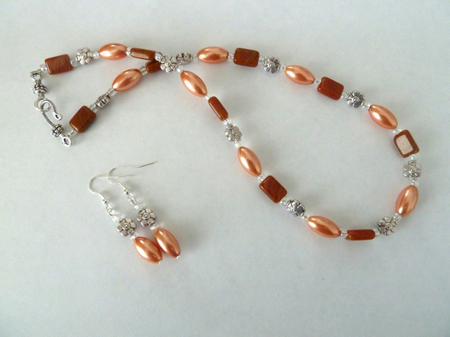 SALE peach pearl necklace and earring set