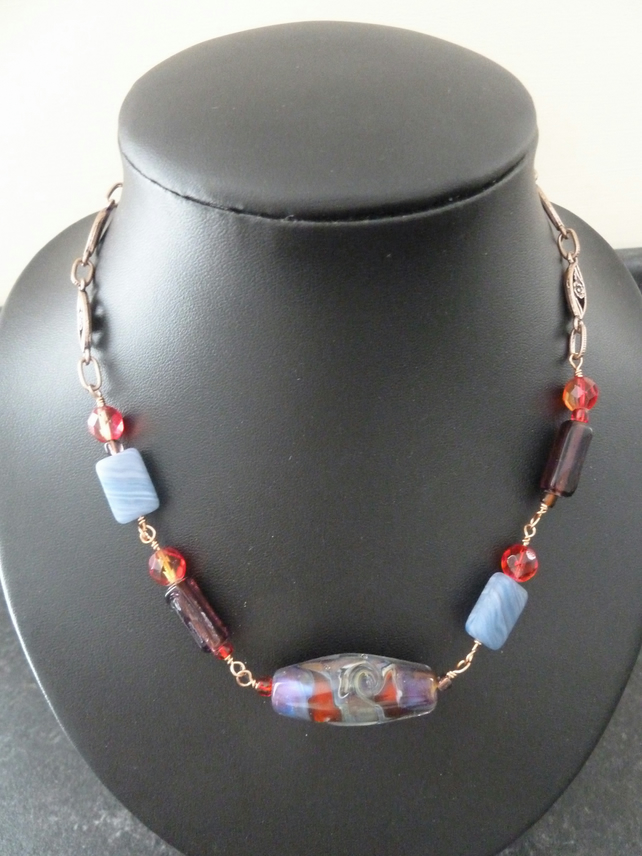 lampwork copper necklace