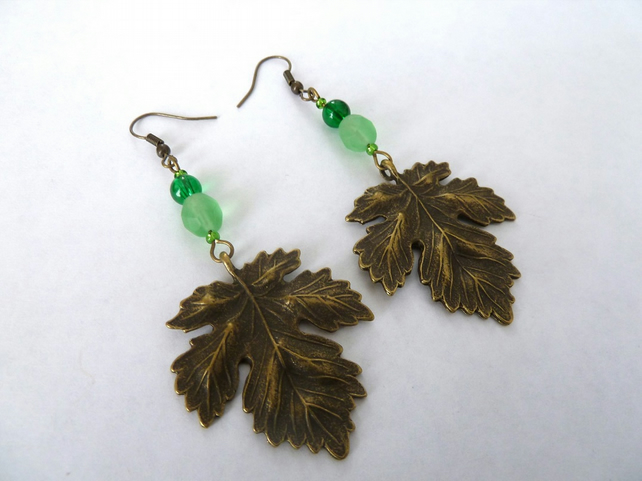 SALE bronze leaf earrings