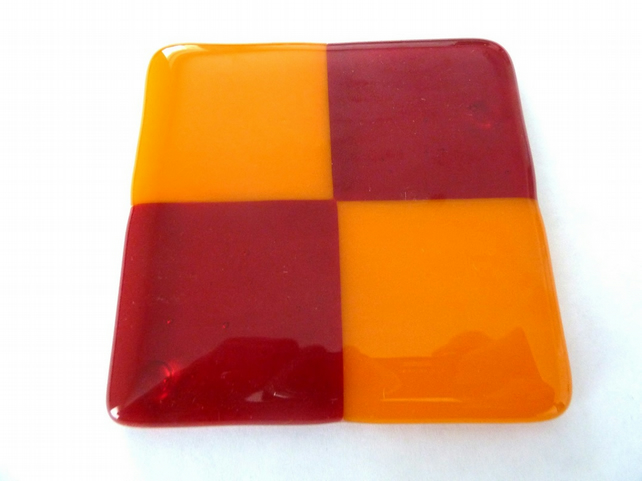 SALE red and orange glass fused coaster