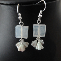 SALE white flower drop earrings