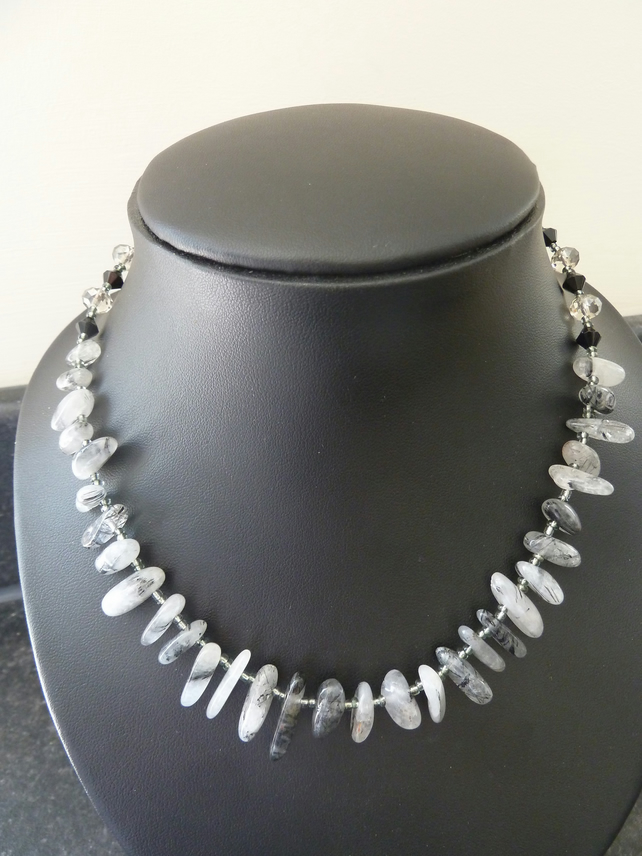 SALE black quartz necklace