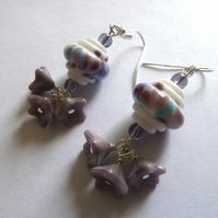 SALE lampwork lilac flower earrings