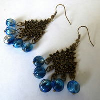 SALE blue dangle earrings