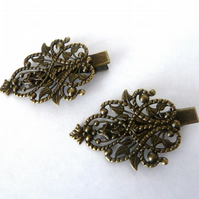 SALE bronze hair clips