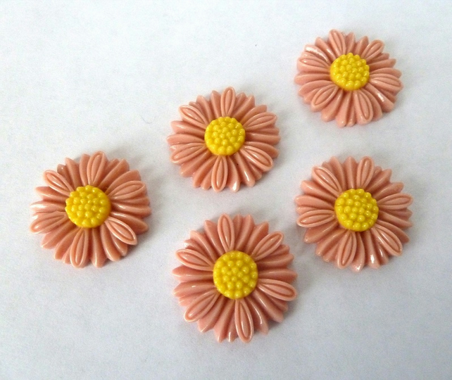 pink daisy cabochons