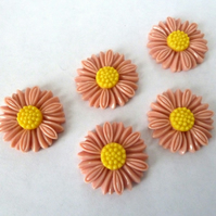 SALE pink daisy cabochons