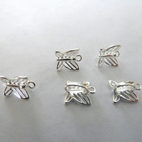 HALF PRICE silver plated butterfly pinch bails