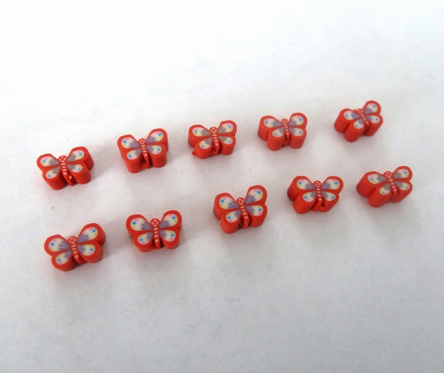 HALF PRICE polymer clay butterfly beads