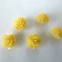 yellow coral flower beads