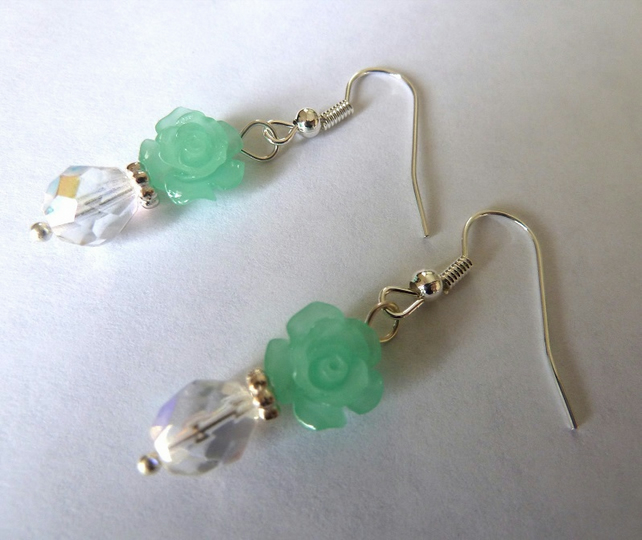 SALE green coral flower earrings