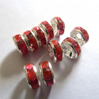 HALF PRICE pink rhinestone spacers
