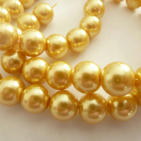 10mm gold glass pearls