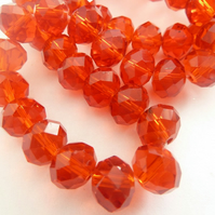 red crystal glass rondelles