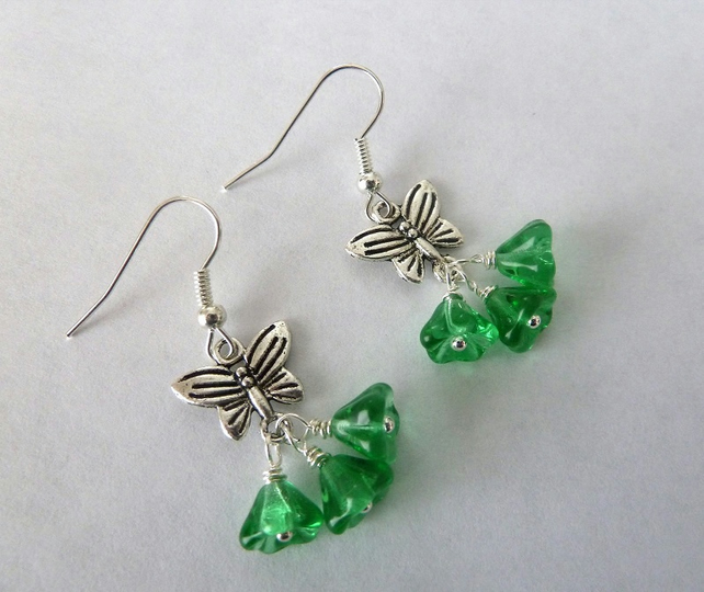 SALE flowers and butterflies earrings
