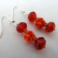SALE red rose earrings