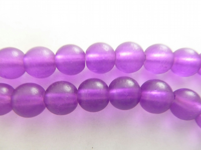 SALE 8mm purple frosted beads