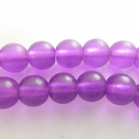 8mm purple frosted beads