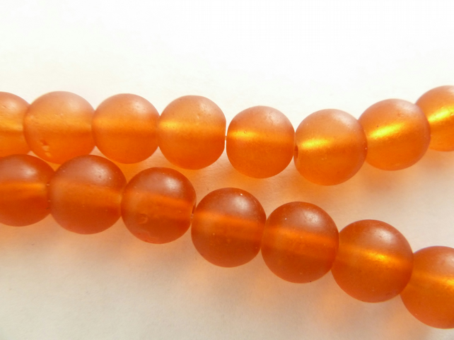 SALE 8mm orange frosted beads
