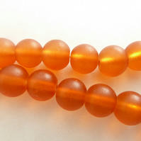 8mm orange frosted beads
