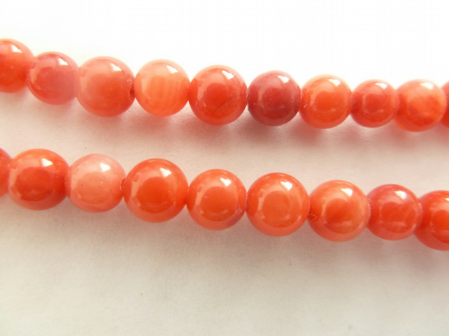 6mm red shell beads