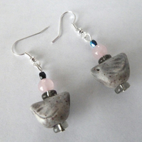 grey ceramic bird earrings