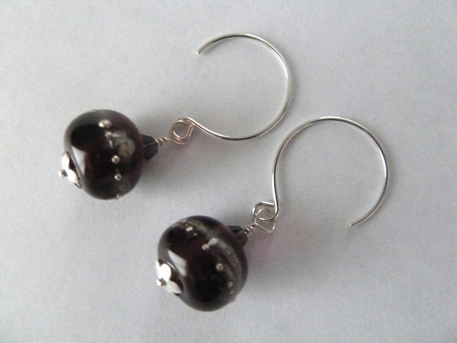 sterling silver purple lampwork earrings