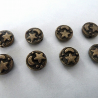 bronze moon and star beads