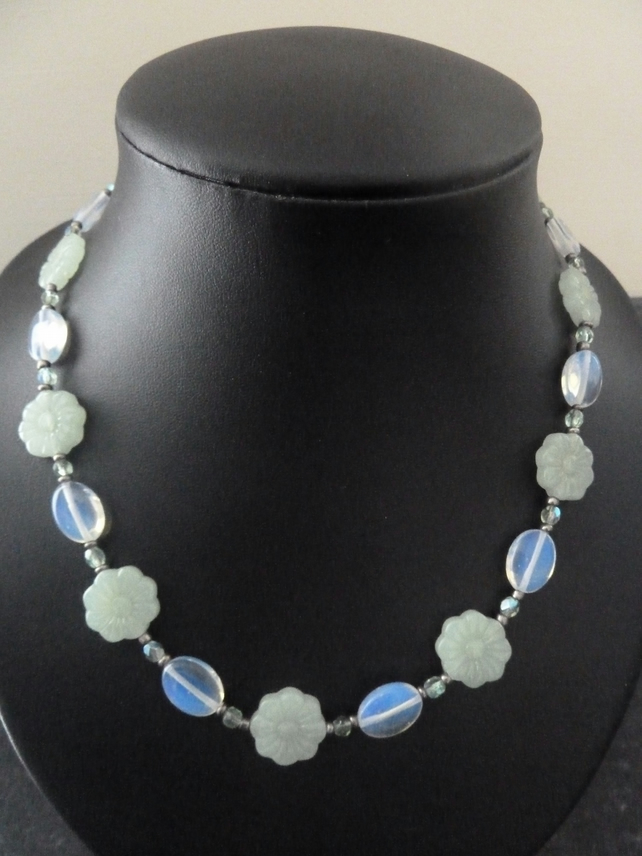 SALE green flower and opalite necklace