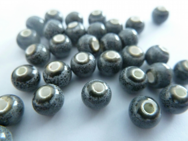 5mm grey porcelain beads